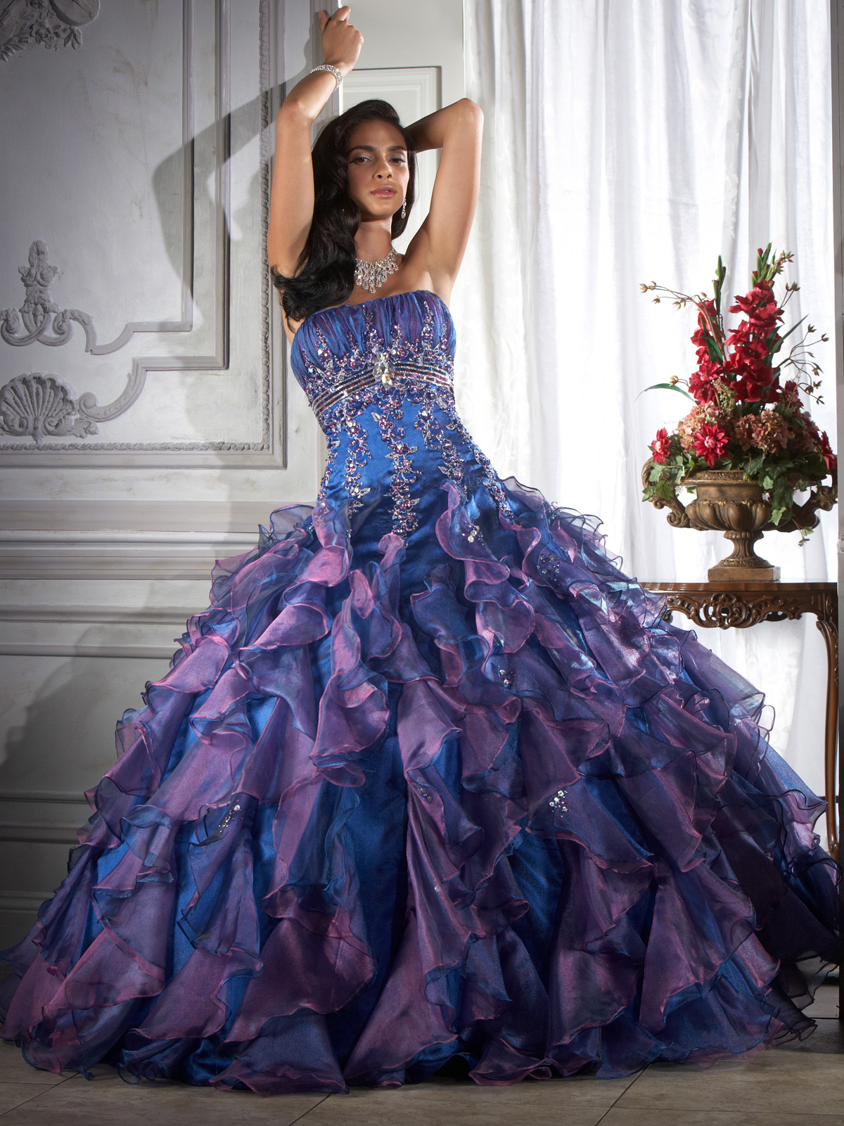 purple colored ball gown wedding dress