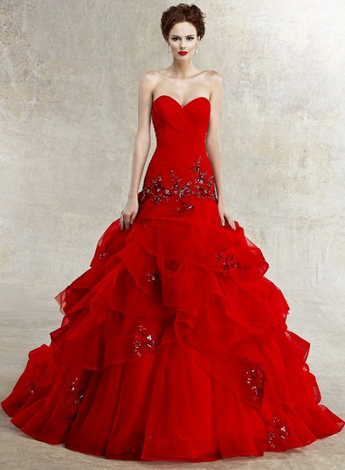 red colored wedding dress with sexy sweetheart