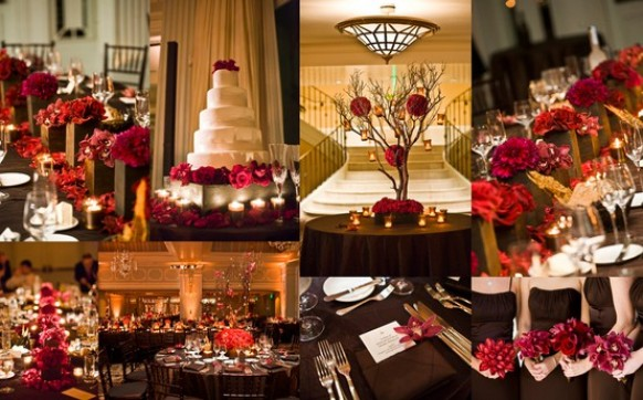 red and gold christmas wedding decor