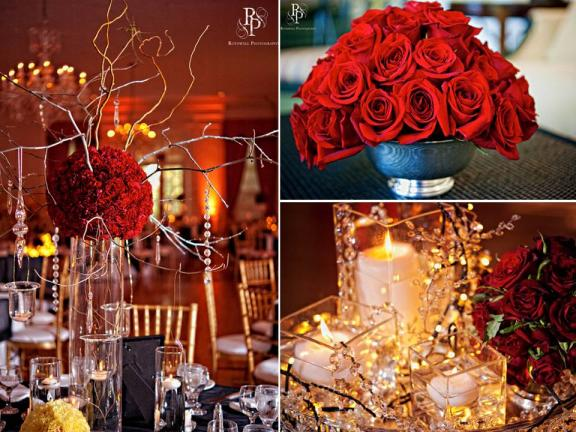 red and gold christmas wedding decoration