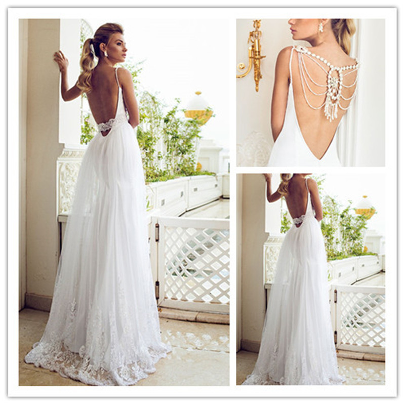 Backless beach wedding dress with spaghetti strapscherry for Marry me wedding dresses