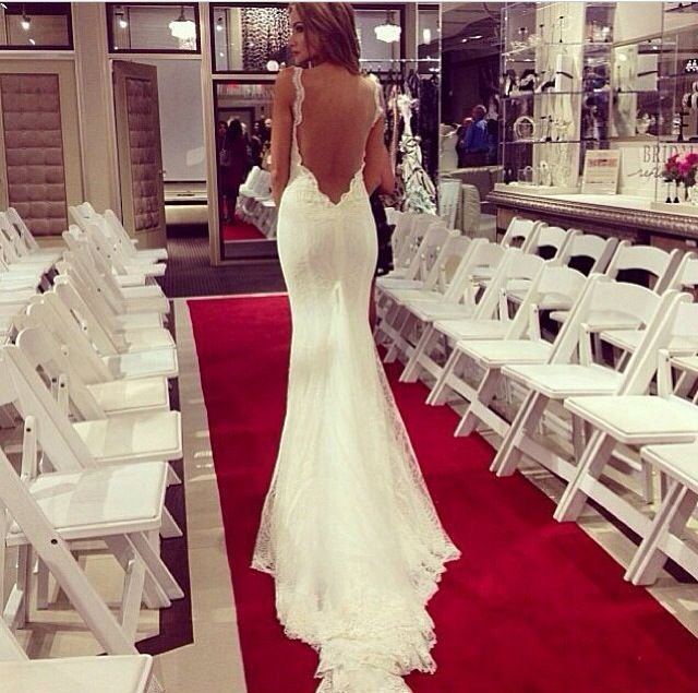 backless mermaid wedding dress with lace