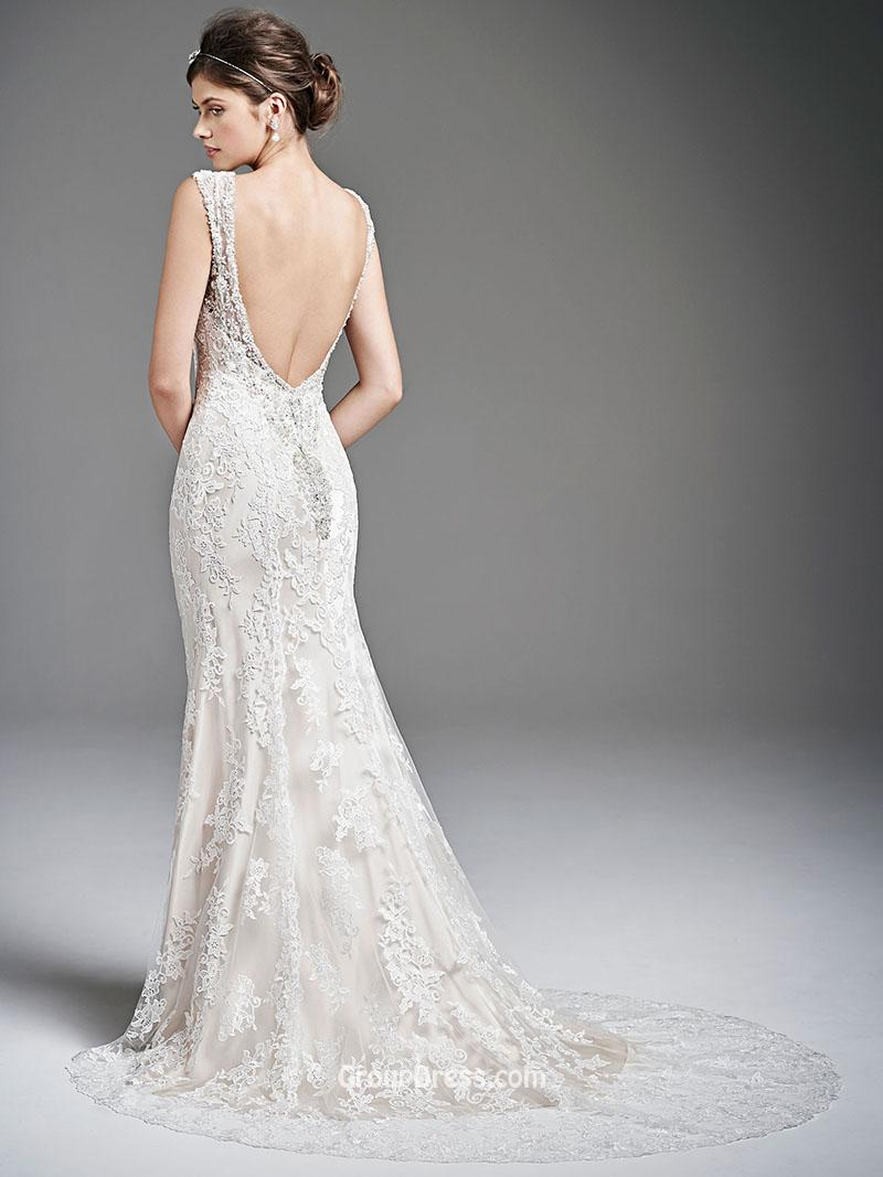 Backless Mermaid Wedding Dress With V NecklineCherry Marry