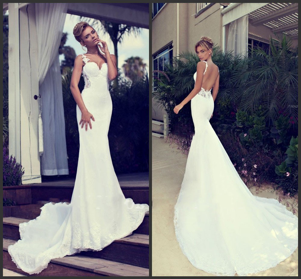 sexy backless mermaid wedding dresses cherry marry