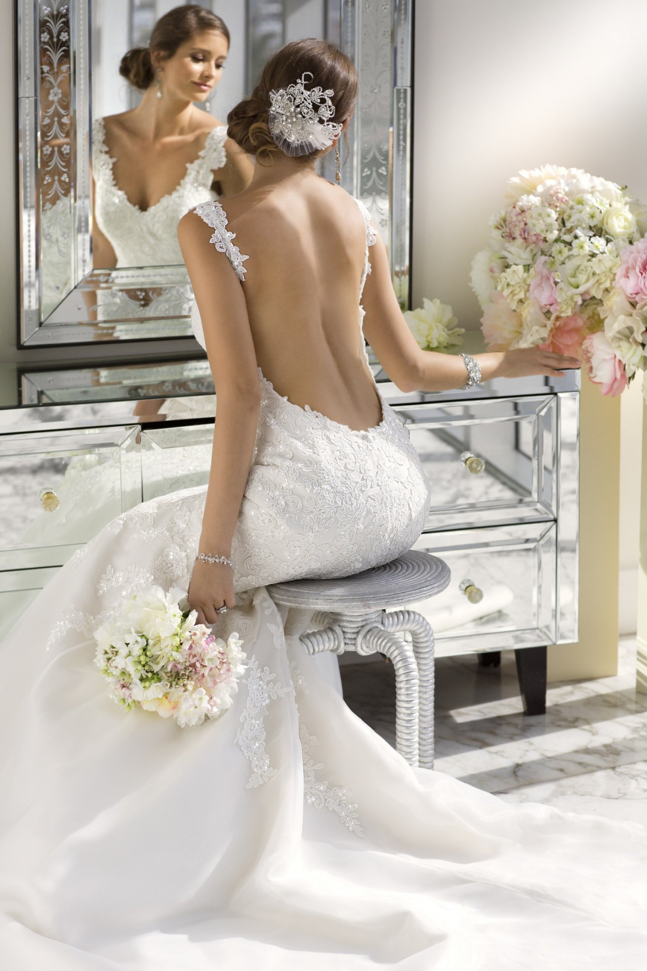 backless trumpet wedding dress with long train