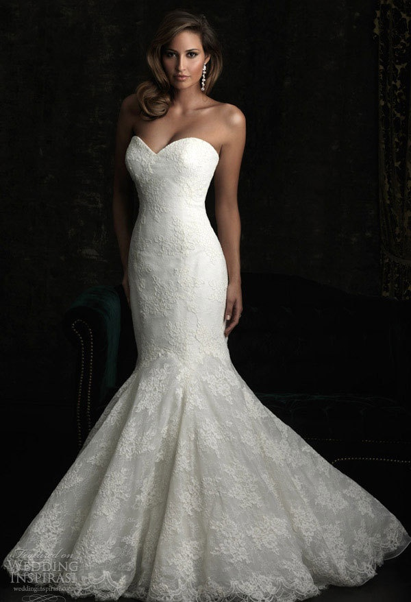 backless trumpet wedding dress with romantic lace