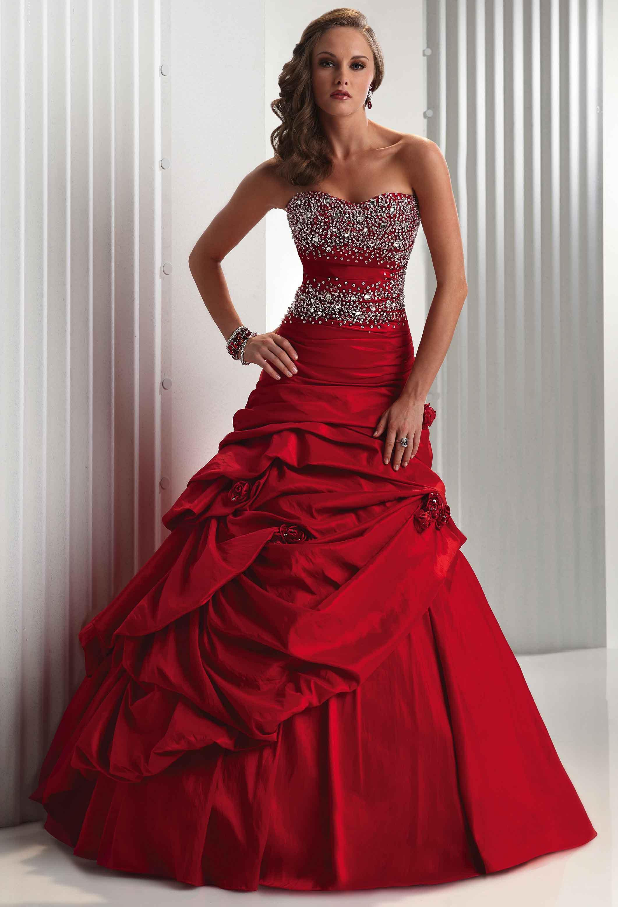 red a-line wedding dress with strapless necklineCherry Marry ...
