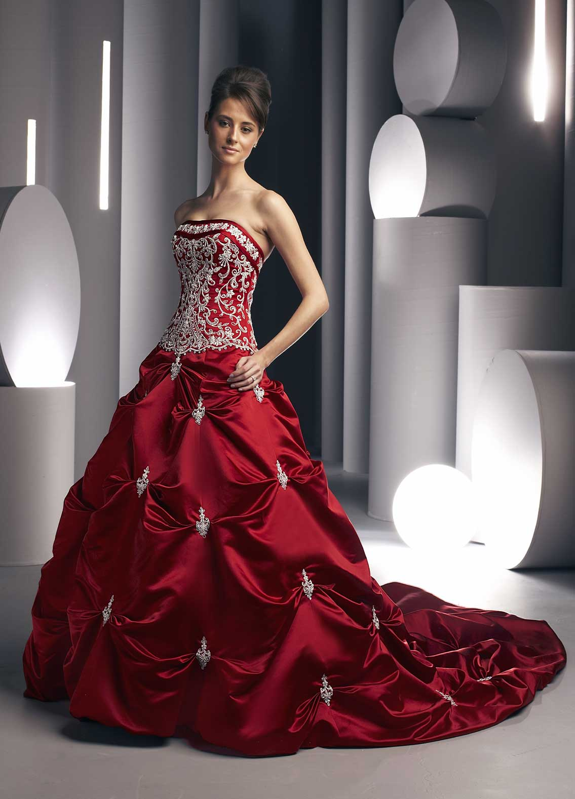 Red Strapless Wedding Dress With Train