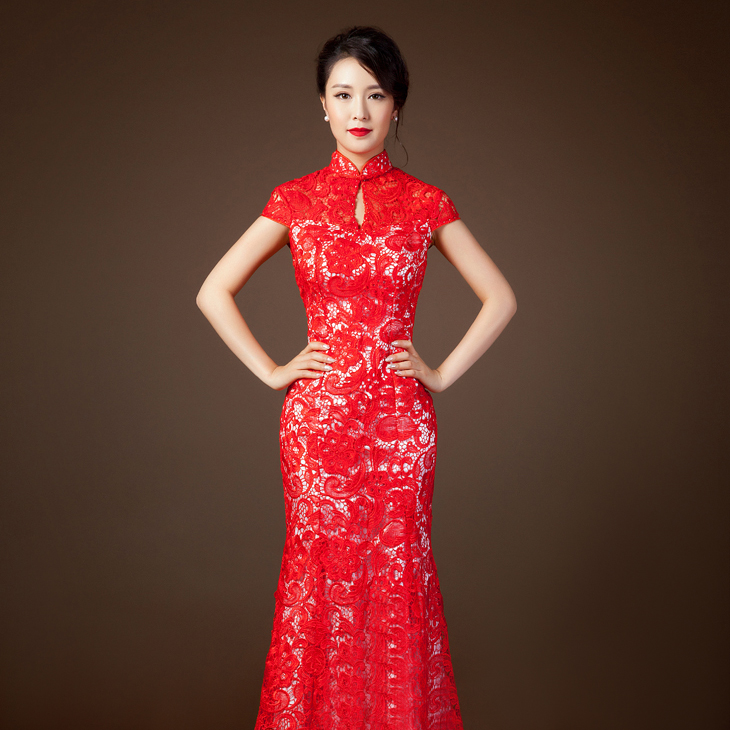 Gorgeous red lace wedding dresses cherry marry for Asian red wedding dresses