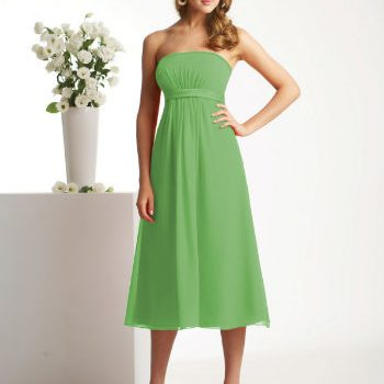 green strapless tea length summer bridesmaid dress