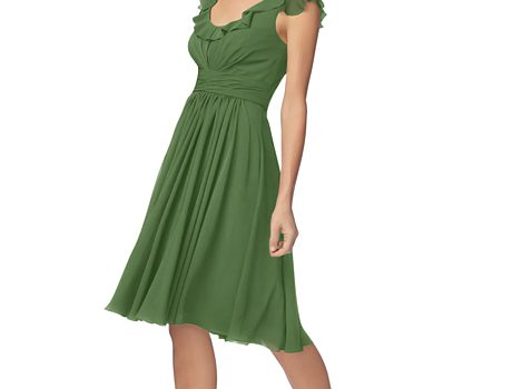 green summer bridesmaid dress with knee length