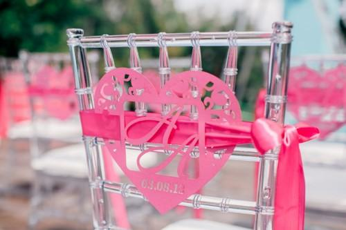 pink chair decor for pink summer wedding theme