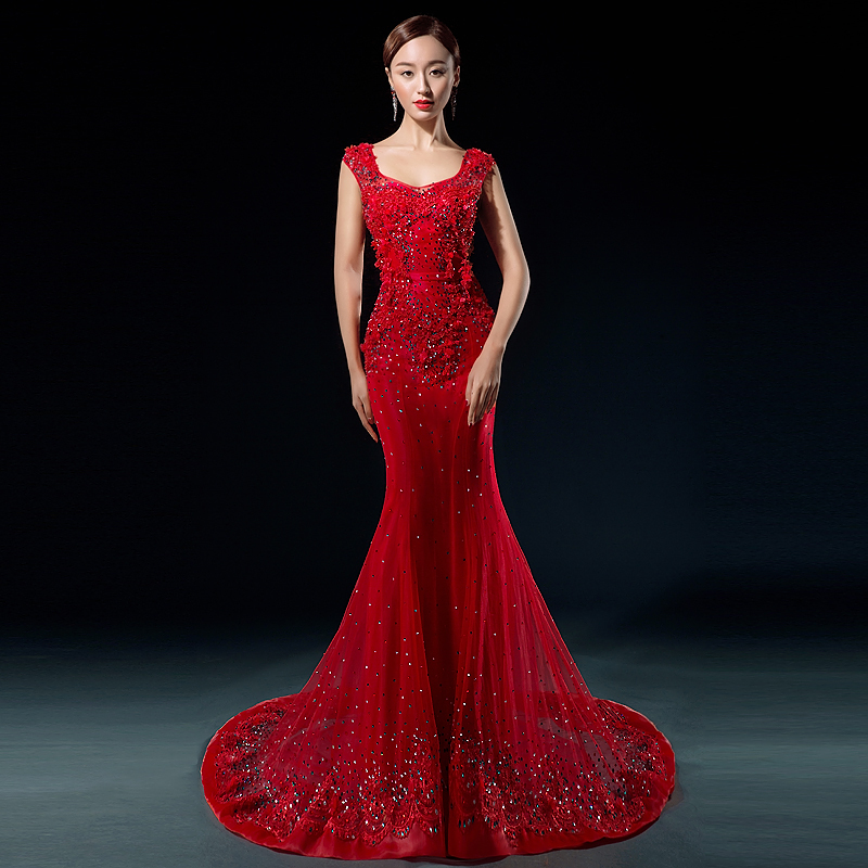 red mermaid lace wedding dress