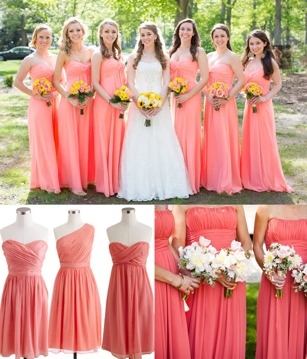 summer coral pink bridesmaid dresses