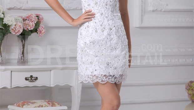 summer lace strapless bridesmaid dress with short length