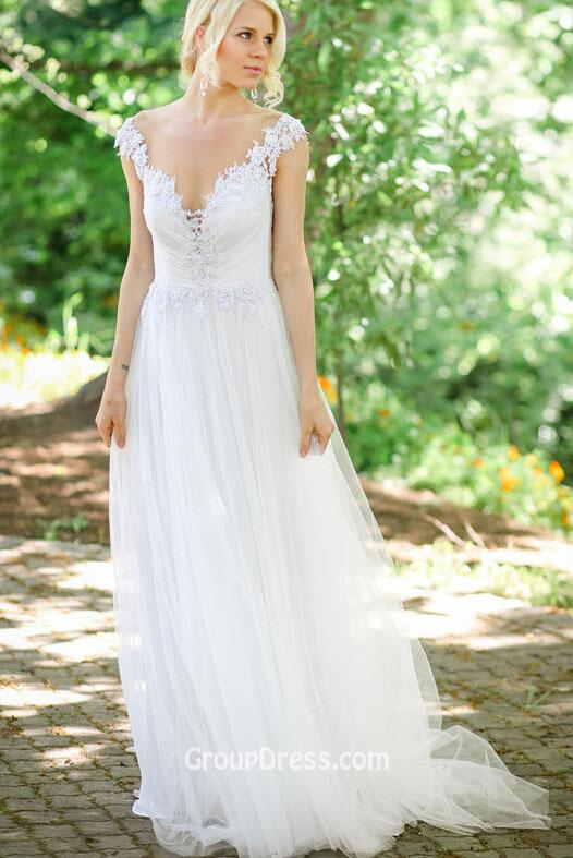 summer lace white bridesmaid dress with open back