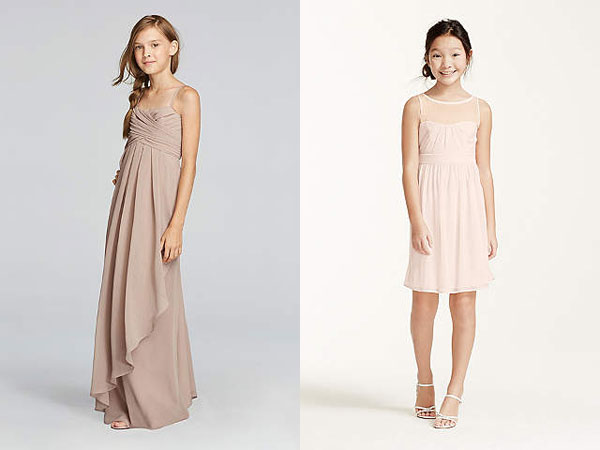 12 year old short and long bridesmaid dresses