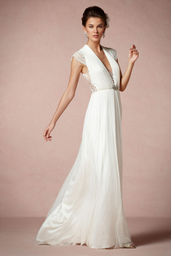 1920's style white wedding dress with floor length