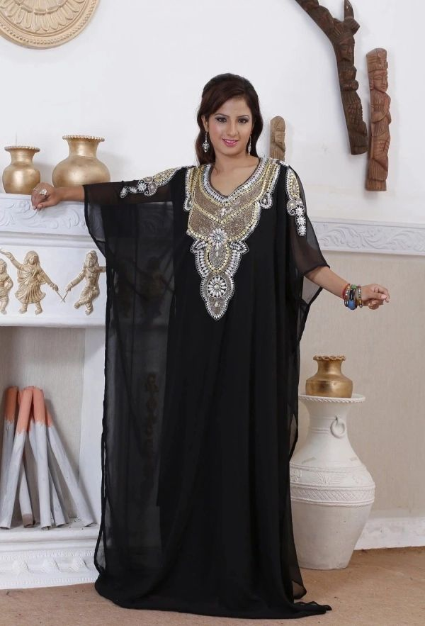 African Black Long Wedding Guest Dress