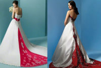alfred angelo red and white wedding dresses