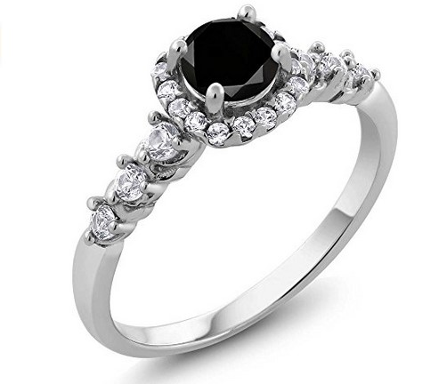 cheap sterling silver wedding ring under 100 with black diamond