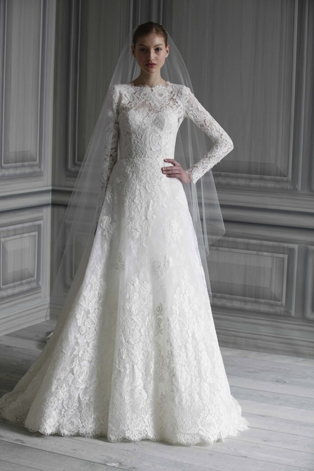 lace long a-line wedding dress with long veil and sleeves