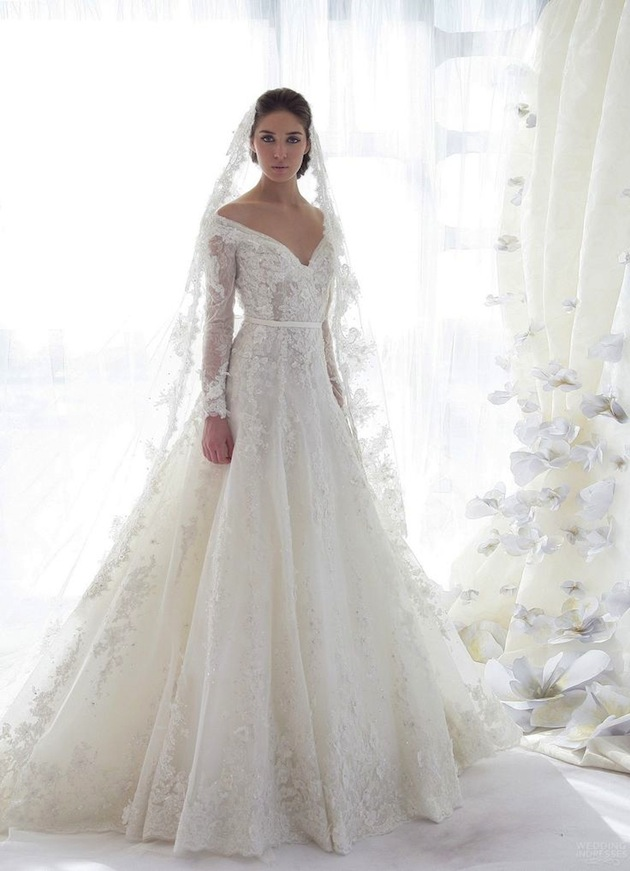 Chic lace wedding dress with sleeves cherry marry for No lace wedding dress