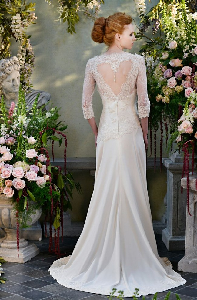 long sleeve lace ivory wedding dress with unique back