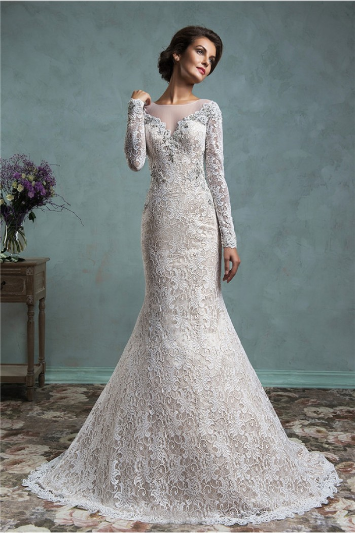 Long sleeve lace mermaid wedding dress with illusion for Long sleeve lace wedding dresses