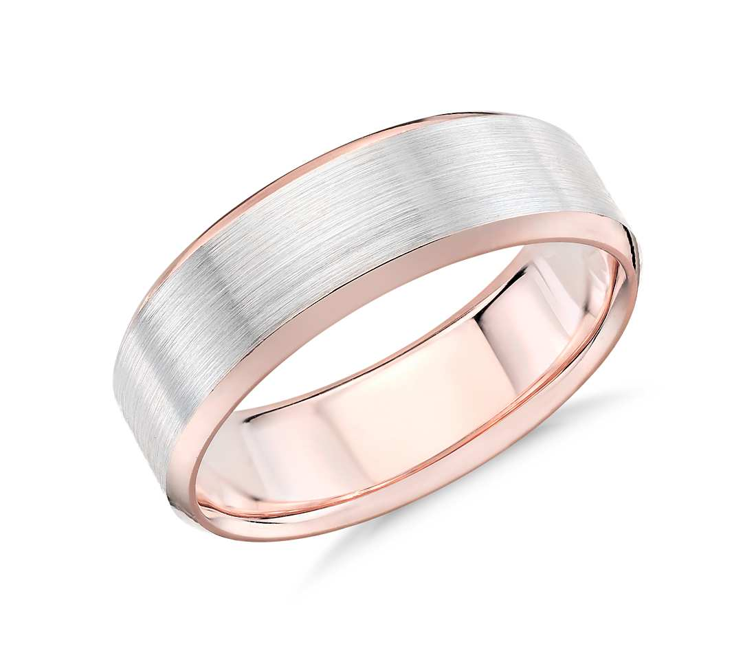 wedding ring with 14k rose gold and white gold