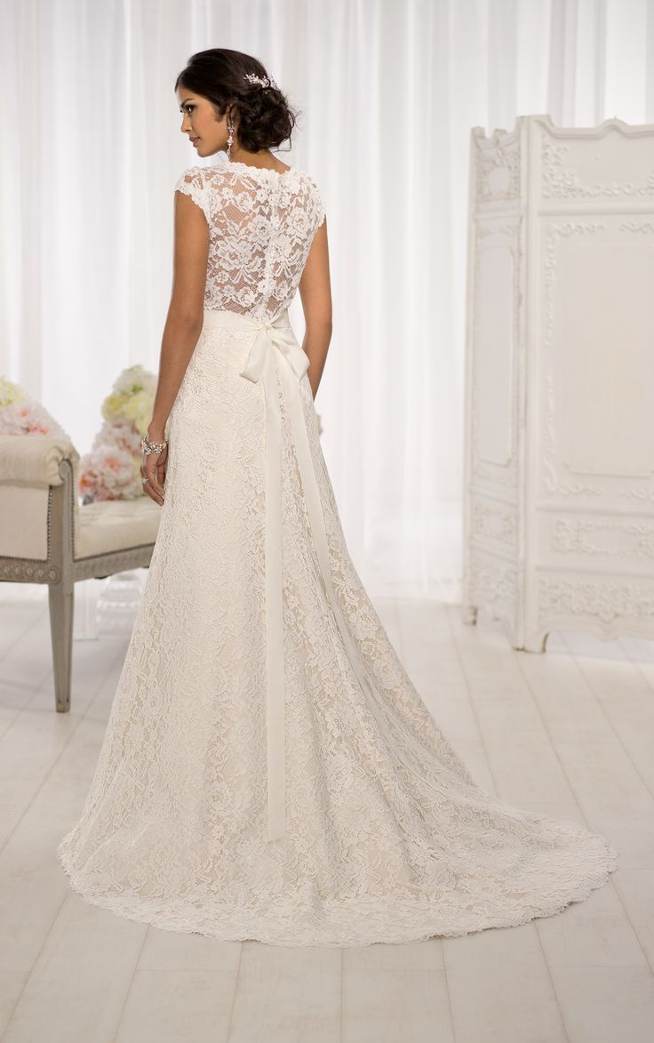 a line lace wedding dress with cap sleeves