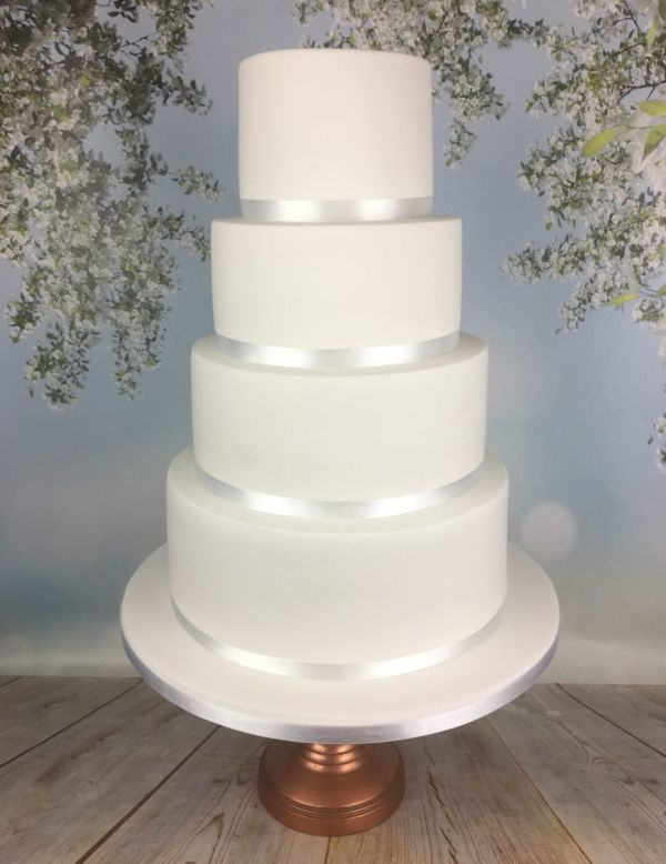 Elegant Minimal White Wedding Cake