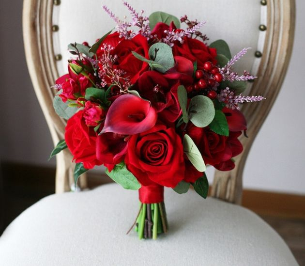 Wedding Hand Bouquet with Red Vintage Flowers