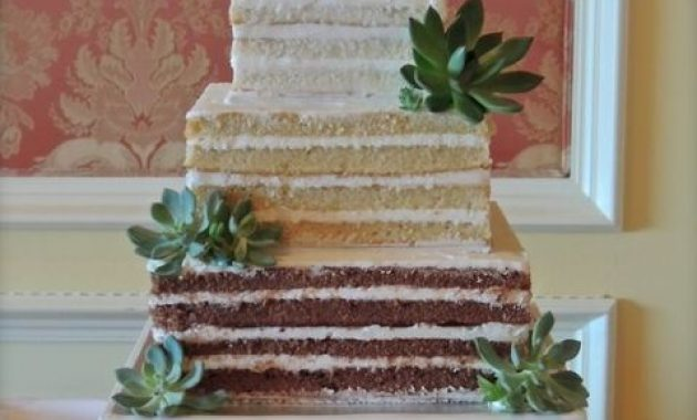 Naked Square Wedding Cake With Different Tiers And Fresh Succulents For Decor For A Modern Wedding