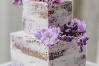 Naked Square Wedding Cake With Purple Blooms