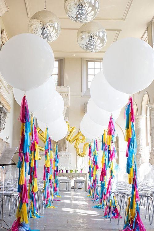 Lit Wedding Aisle Wedding Decor With Balloons And Tassel Tails
