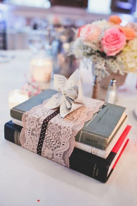 Vintage Book Wedding Centerpiece With Lace And With A Paper Bloom