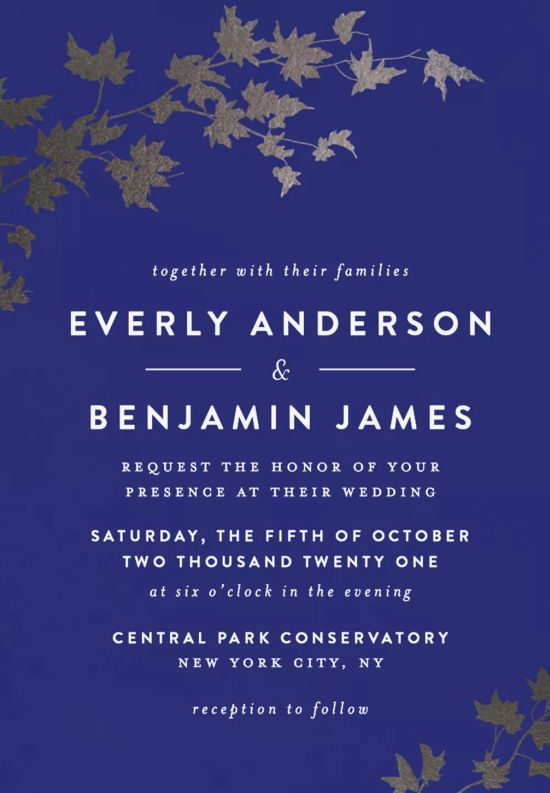 Autumn In New York Foil-Pressed Fall Wedding Invitations