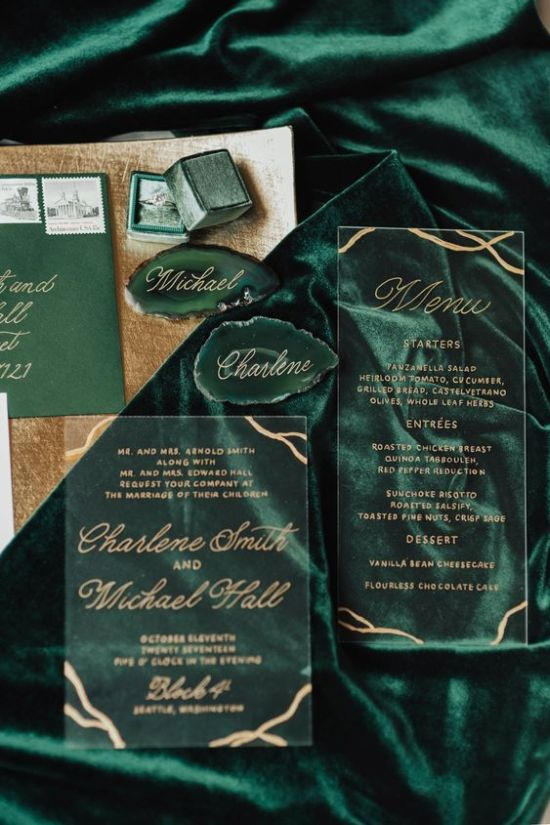 Chic Fall Wedding Invitation With Touches