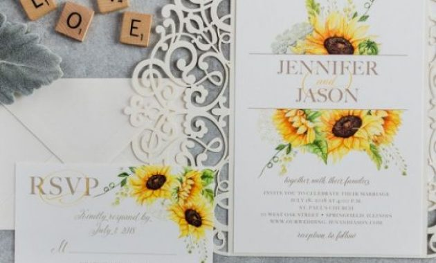 Elegant Watercolor Yellow Sunflower Laser Cut Wedding Invitations For Rustic Weddings