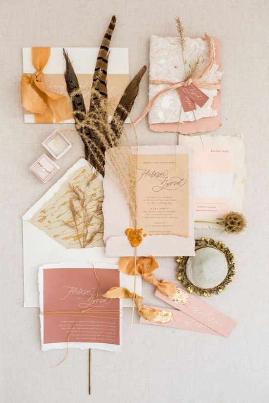 Pastel And Earthy Fall Wedding Invitation