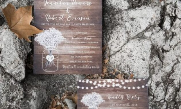 Rustic Babybreath And Stringlights Wedding Invites