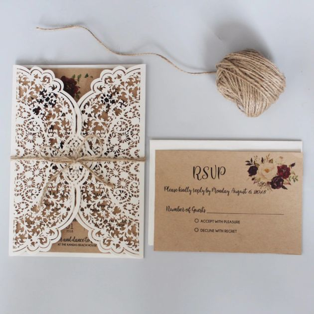 Rustic Laser Cut Wedding Invitation Wedding Invitation