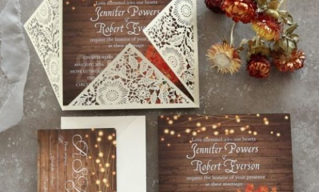 Rustic Stringlights Maple Leaf Laser Cut Wedding Invitations With Twines