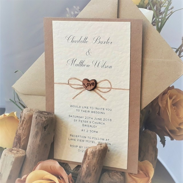 Rustic Wedding Invitation With Envelope
