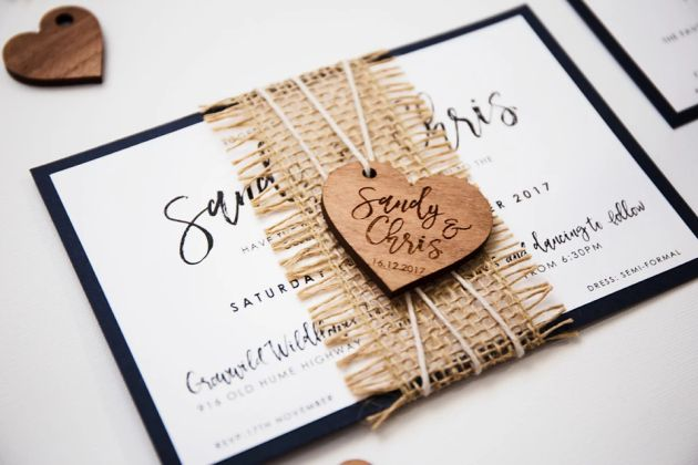 Rustic Wedding Invitation With Personalized Wooden Heart Shape