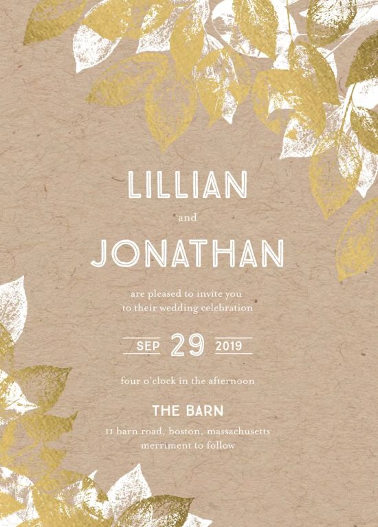 Stamped Foliage Fall Wedding Invitation
