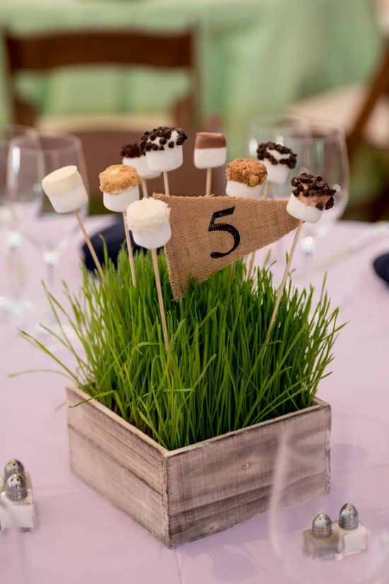 Wedding Reception Table Decoration Ideas With Jars With Marshmallows