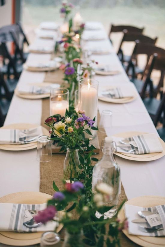 Wedding Reception Table Decoration Ideas With Small Jars Of Wildflowers For A Boho Touch