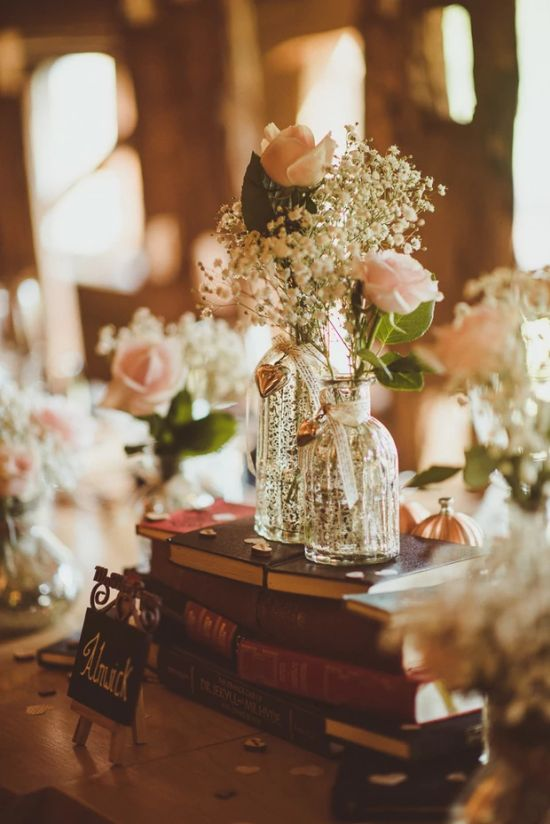 Wedding Reception Table Decoration Ideas With Small Vases And Mason Jars Filled With Wildflowers